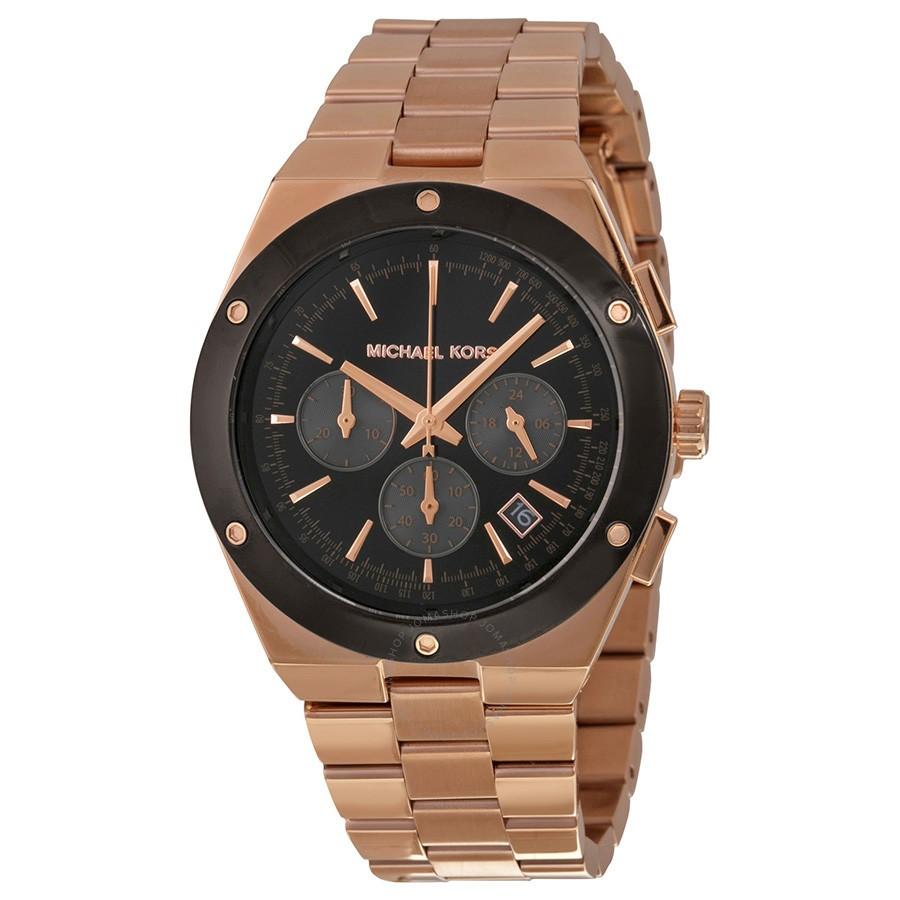 Stylish new Michael Kors Reagan Black Dial Rose Gold-tone watch.