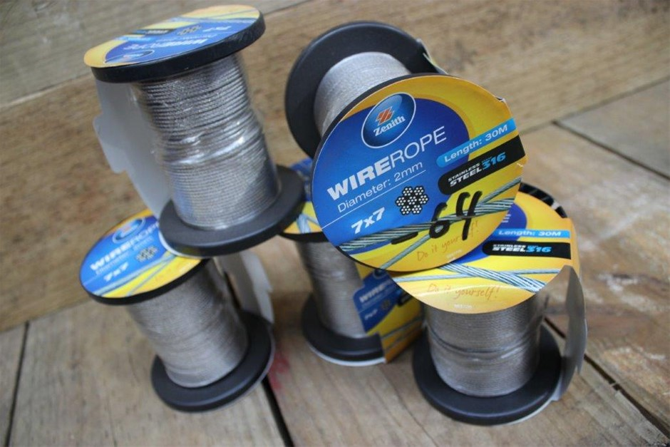 5 x Roll Of Zenith Stainless Steel 316 Wire Rope 2mm x 30Meters 7 x 7