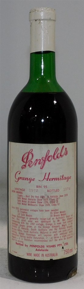 Penfolds Bin 95 Grange Hermitage 1973 (1x 750mL) SA.