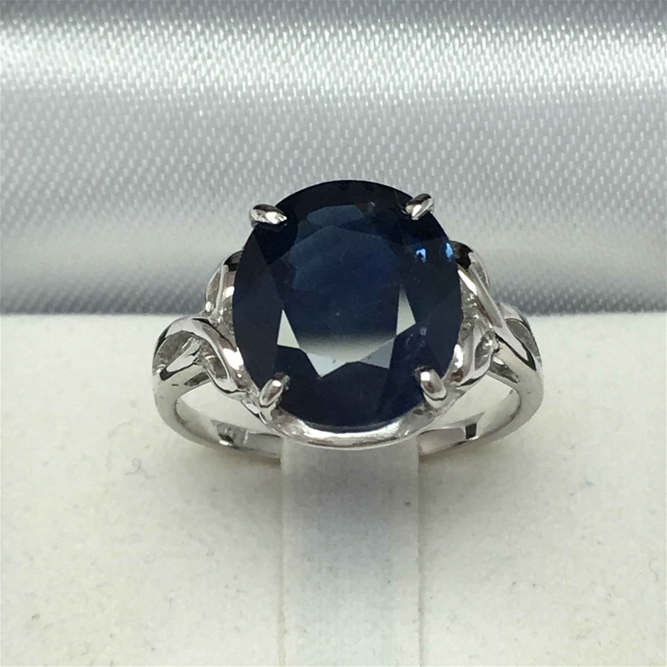18ct White Gold, 6.42ct Blue Sapphire Ring