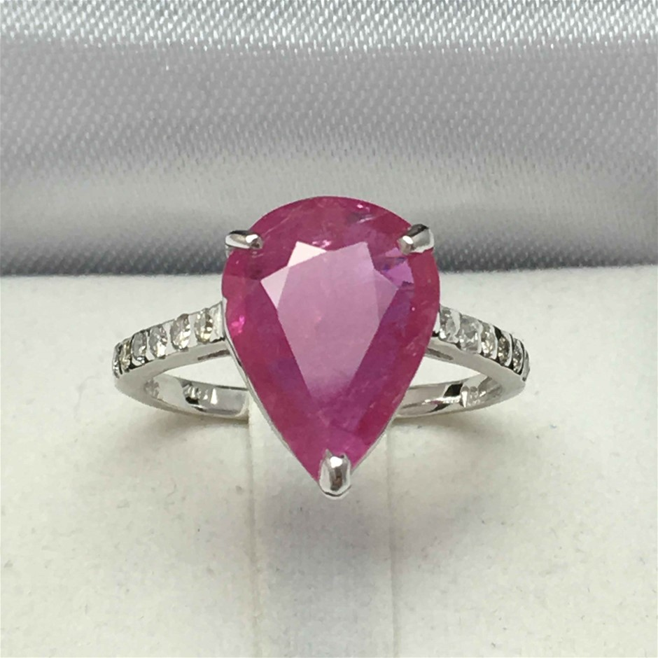 18ct White Gold, 4.13ct Ruby and Diamond Ring