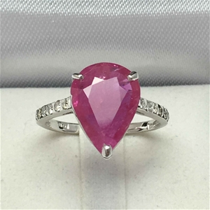 18ct White Gold, 4.13ct Ruby and Diamond