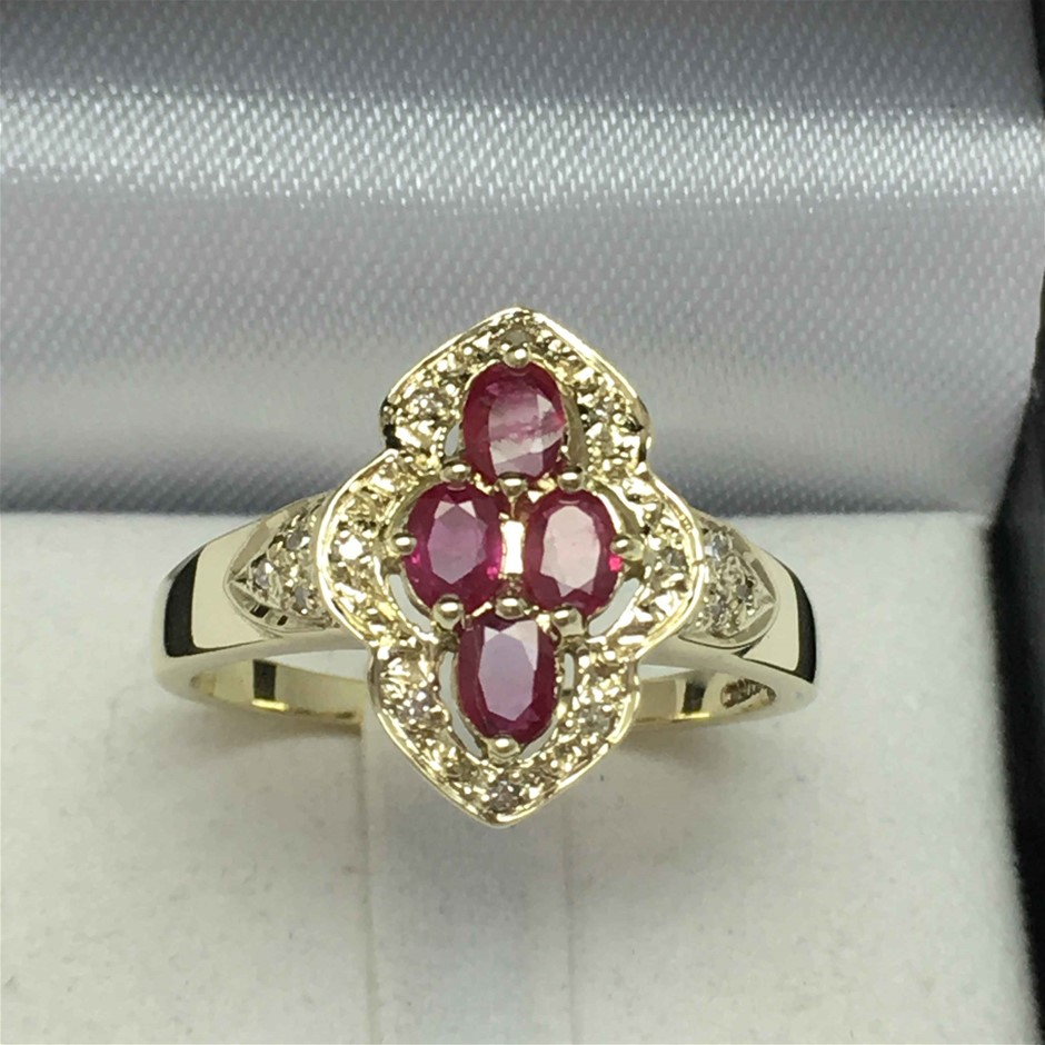9ct Yellow Gold, 0.84ct Ruby and Diamond Ring