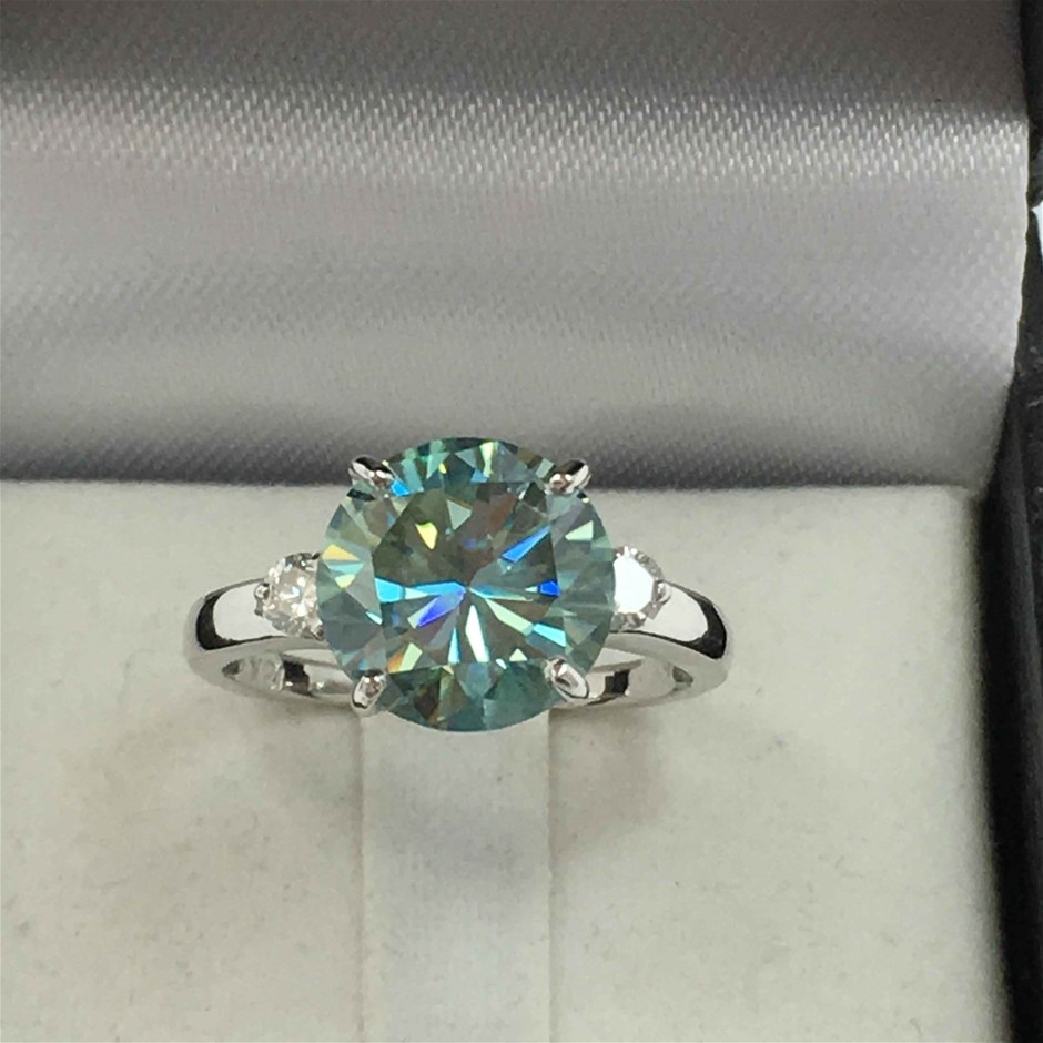 18ct White Gold, 3.19ct Moissanite and Diamond Ring
