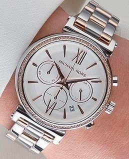 New ladies Michael Kors Couture NY 'Sophie' stunning chrono 2 tone watch
