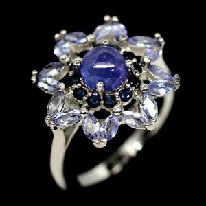 Unique Genuine Tanzanite & Sapphire Ring