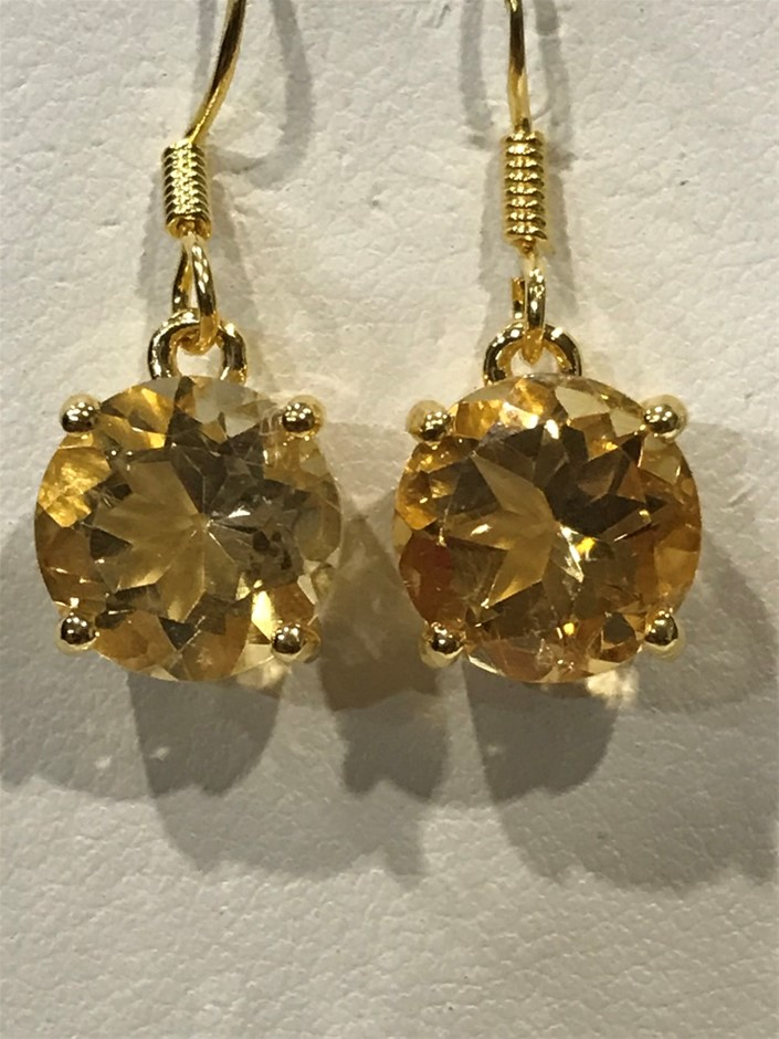 Magnificent Citrine 5.00ct & 18K Gold Vermeil Earrings