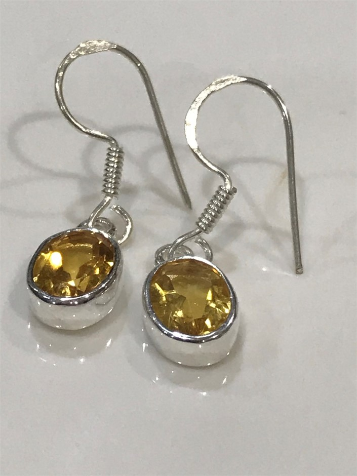 Stunning Genuine 2.50ct Citrine Drop Earrings