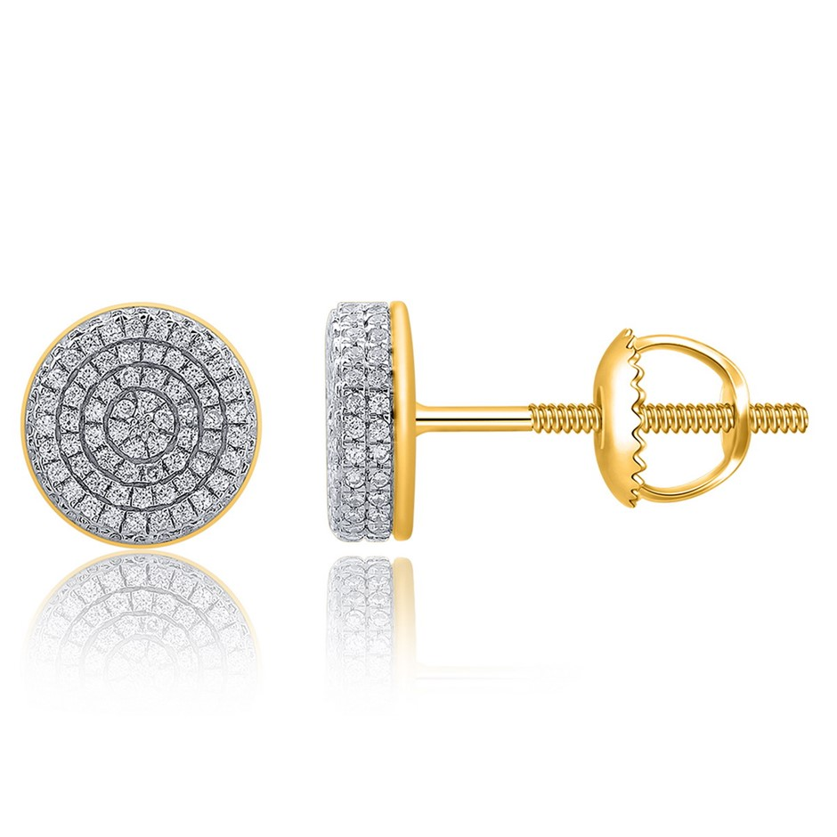 9ct Yellow Gold, 0.38ct Diamond Earrings