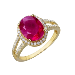 9ct yellow Gold, 3.69ct Ruby and Diamond