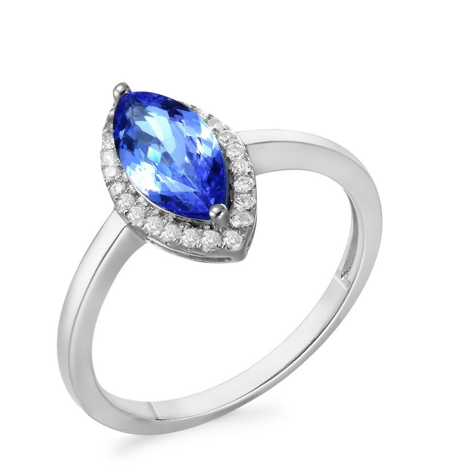 9ct White Gold. 1.17ct Tanzanite and Diamond Ring
