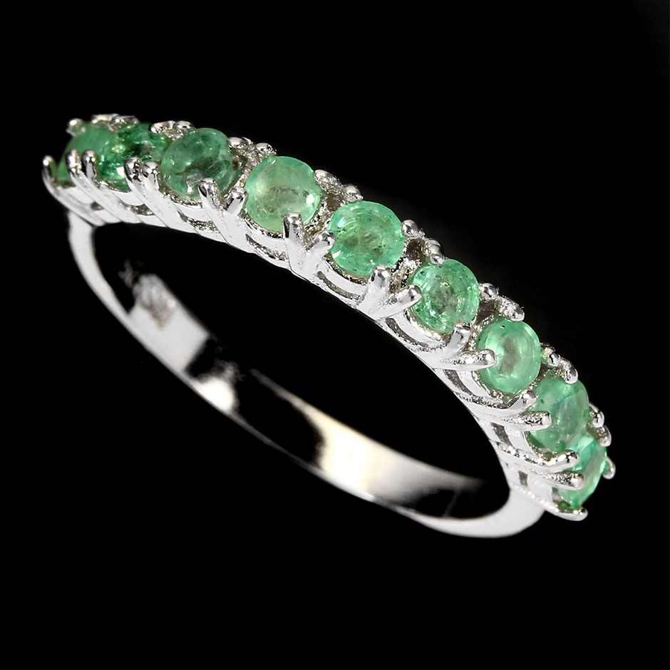 Delightful Genuine Emerald Eternity Band Ring
