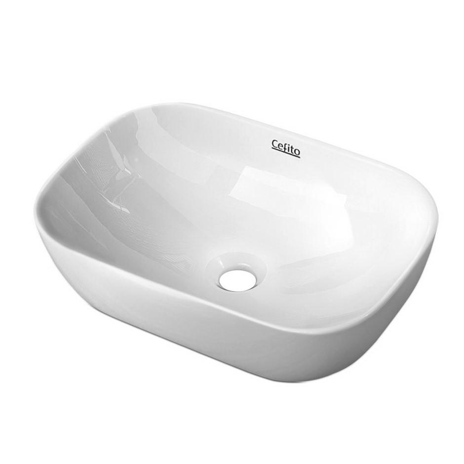 Cefito Ceramic Bathroom Basin Sink Vanity Above Counter White Rectangular