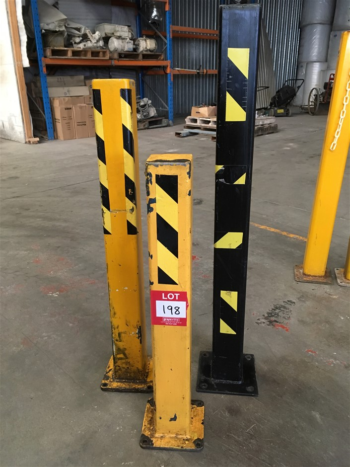 3 x Heavy duty Bollards, black: 1125mm (H) x 100mm squ.) yellow: 960mm (H)