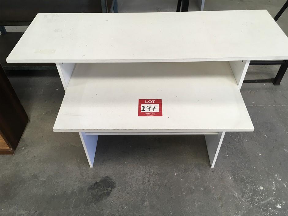 Small White Laminated Table. 2 x Shelf (850H x 1180W x 420 x 660)