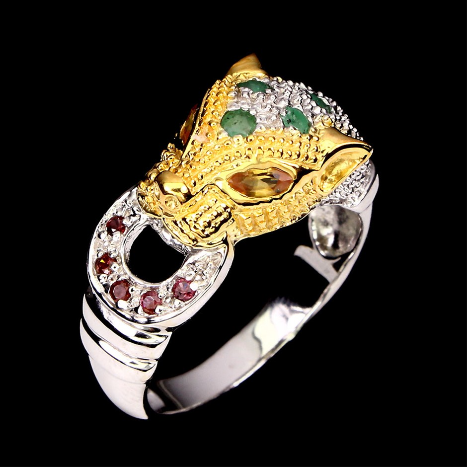 Striking Genuine Sapphire, Emerald & Garnet Tiger Ring
