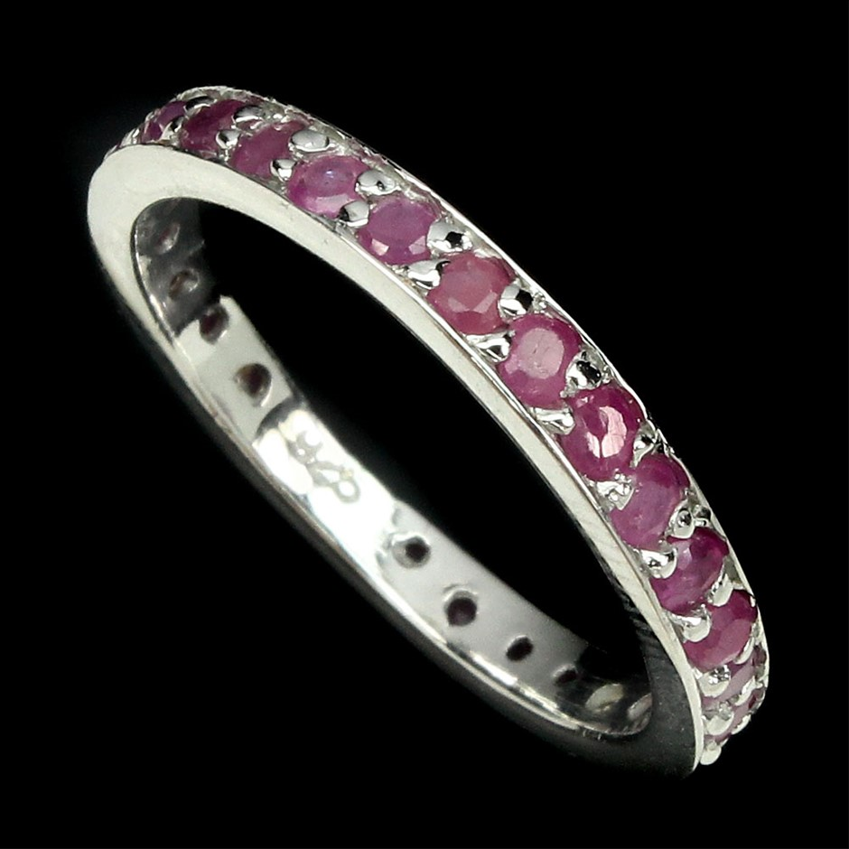 Beautiful Genuine Ruby Eternity Band Ring