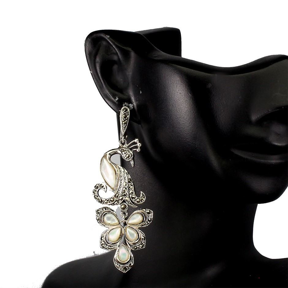 Spectacular Genuine Mother Of Pearl Peacock Earrings
