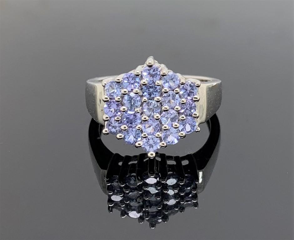 Charming Tanzanite White Gold Ring. Size 'N'