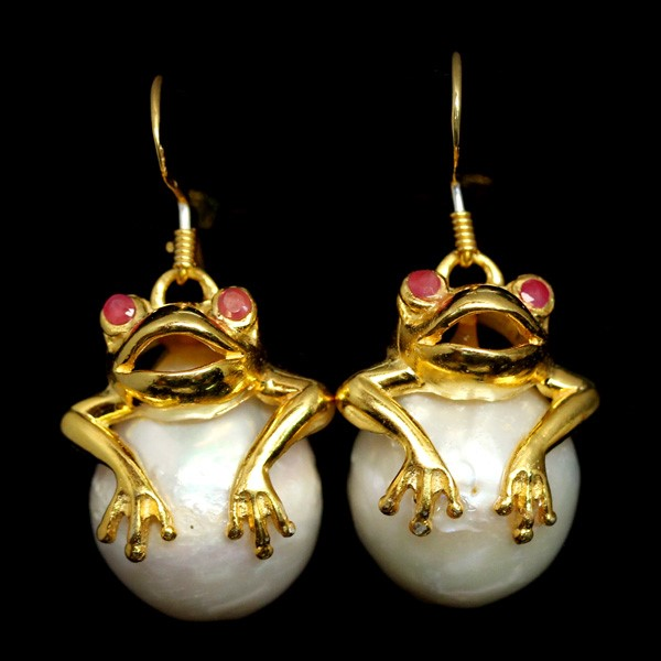 Unique Genuine Ruby & Pearl Froggy Earrings.