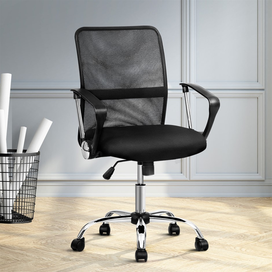 Artiss Office Chair Gaming Chair Computer Mesh Chairs Mid Back Black