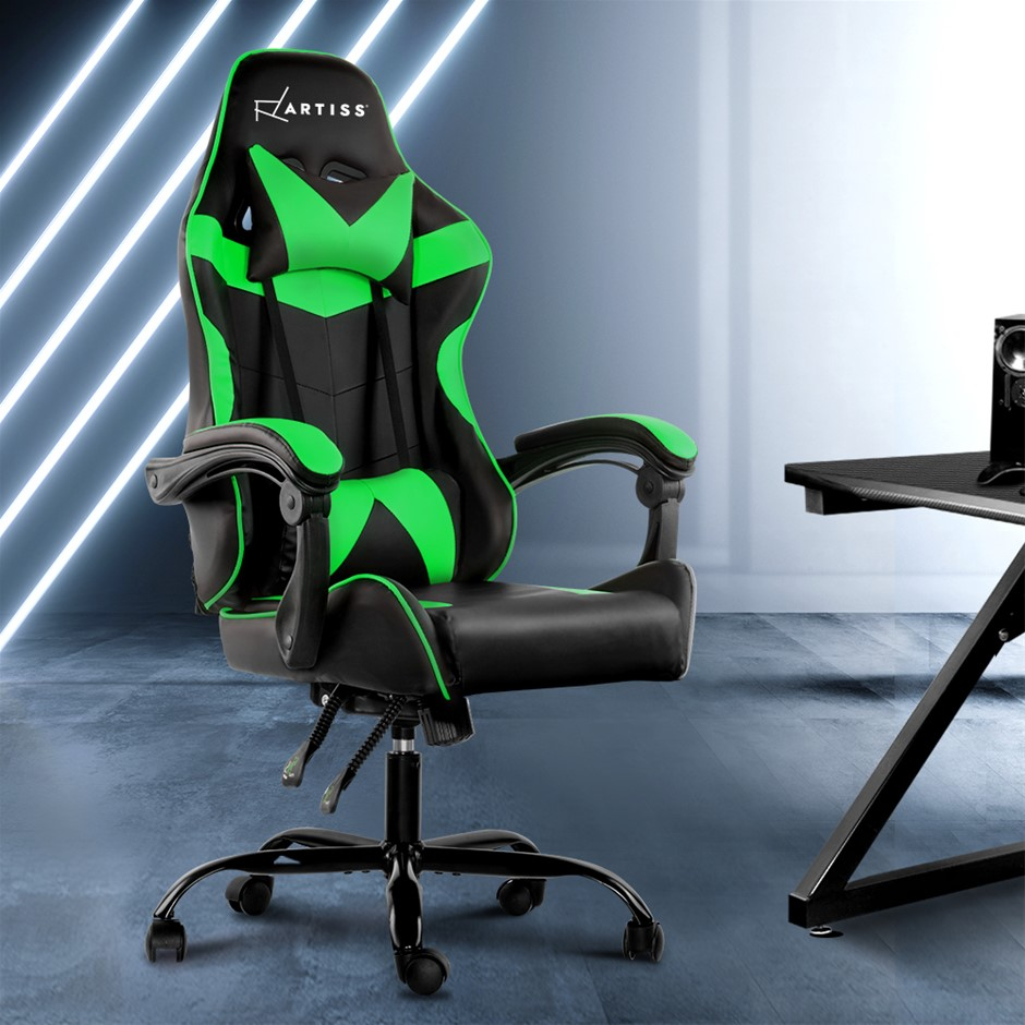 Artiss Office Chair Gaming Chair Computer PU Leather Armrest Black Green