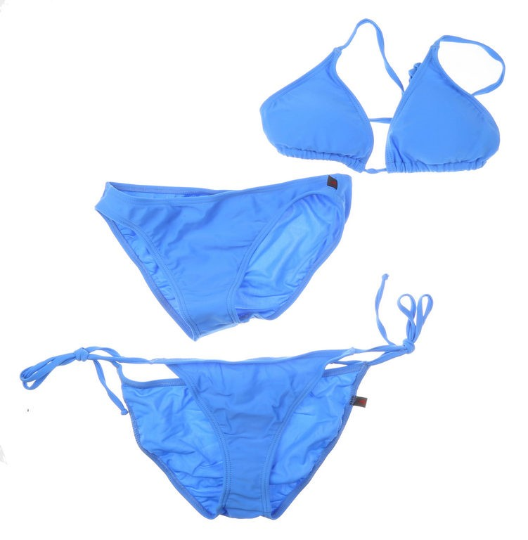Women`s 3pc Bikini Set, Including; String Tie Top & Bottom and Plain Bottom