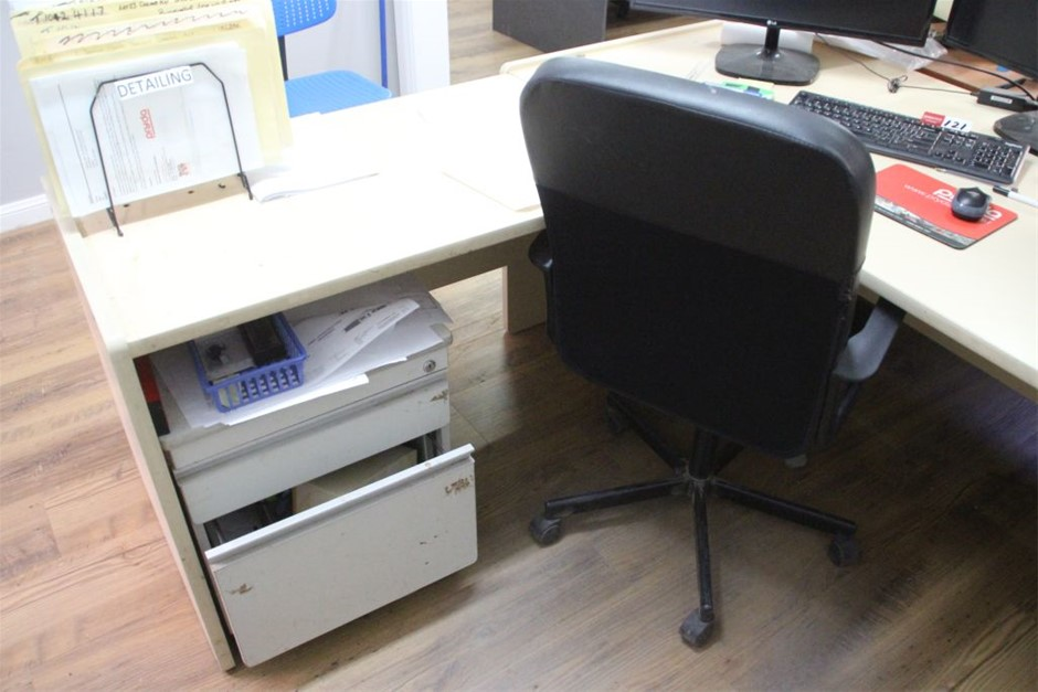 Office Desk with Left Hand Return & Chair, 3 Drawers