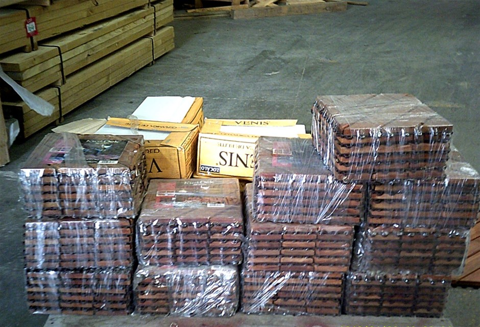 Pallet containing 12 packets, each containing 6 timber tiles,