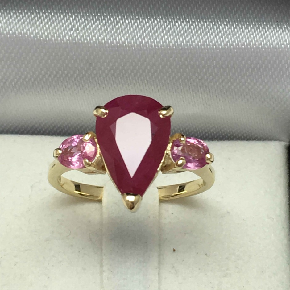 18ct Yellow Gold, 4.62ct Ruby and Pink Sapphire Ring