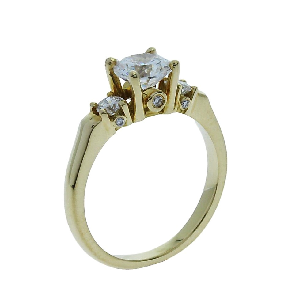 18ct Yellow Gold, 1.31ct Cubic Zirconia and Diamond Engagement Ring