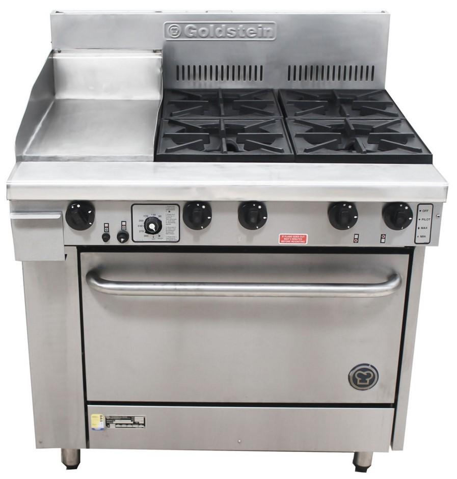 GOLDSTEIN GAS COMBINATION 600MM HOTPLATE/2 BURNER WITH OVEN, QUALIT
