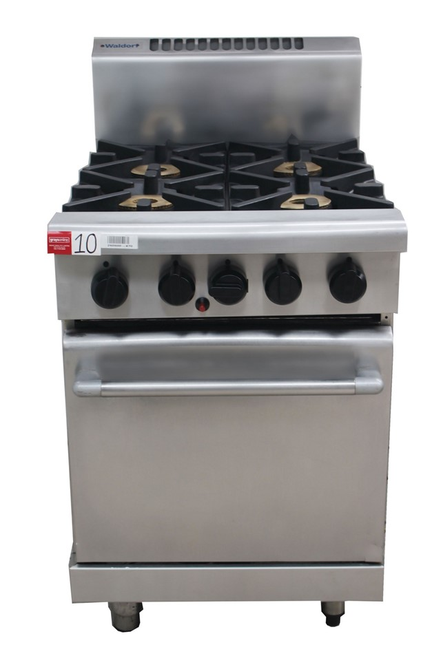 WALDORF GAS 4 BURNER STOVE WITH OVEN, QUALITY COMMERCIAL KITCHEN EQ