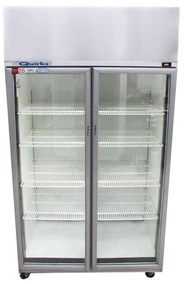 SKOPE UPRIGHT 2 DOOR GLASS FRIDGE, QUALITY COMMERCIAL KITCHEN EQUIP