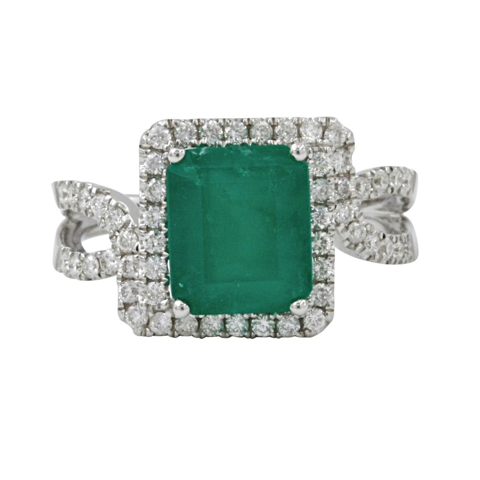 9ct White Gold, 2.91ct Emerald and Diamond Ring