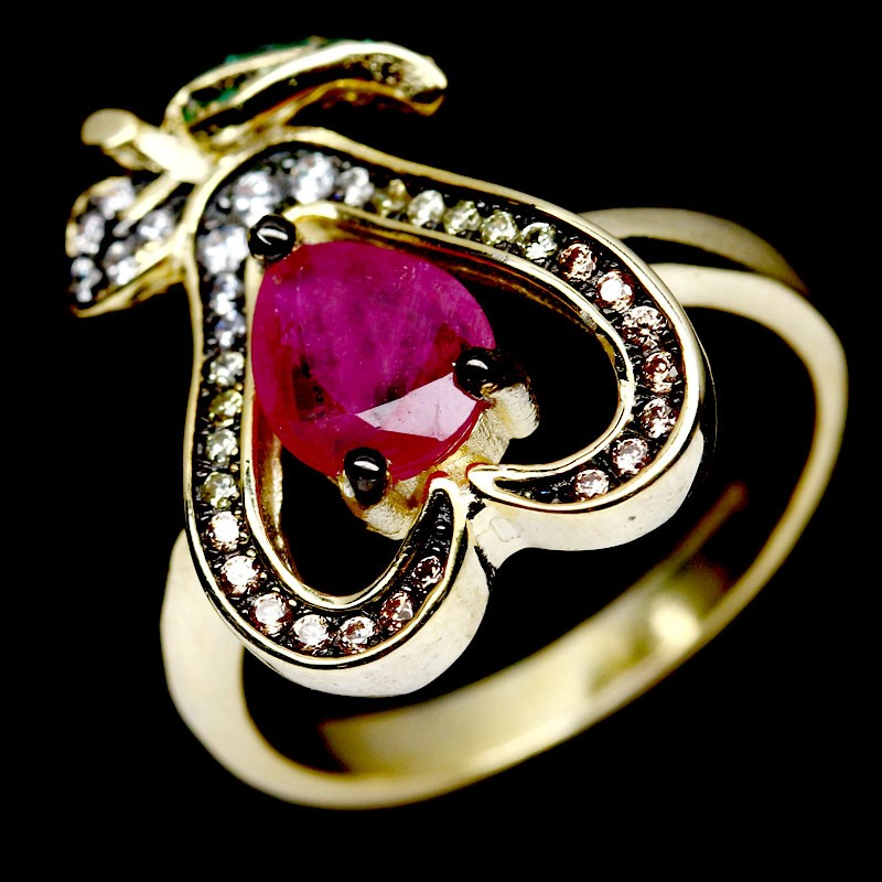 Beautiful Genuine Ruby Heart Ring.