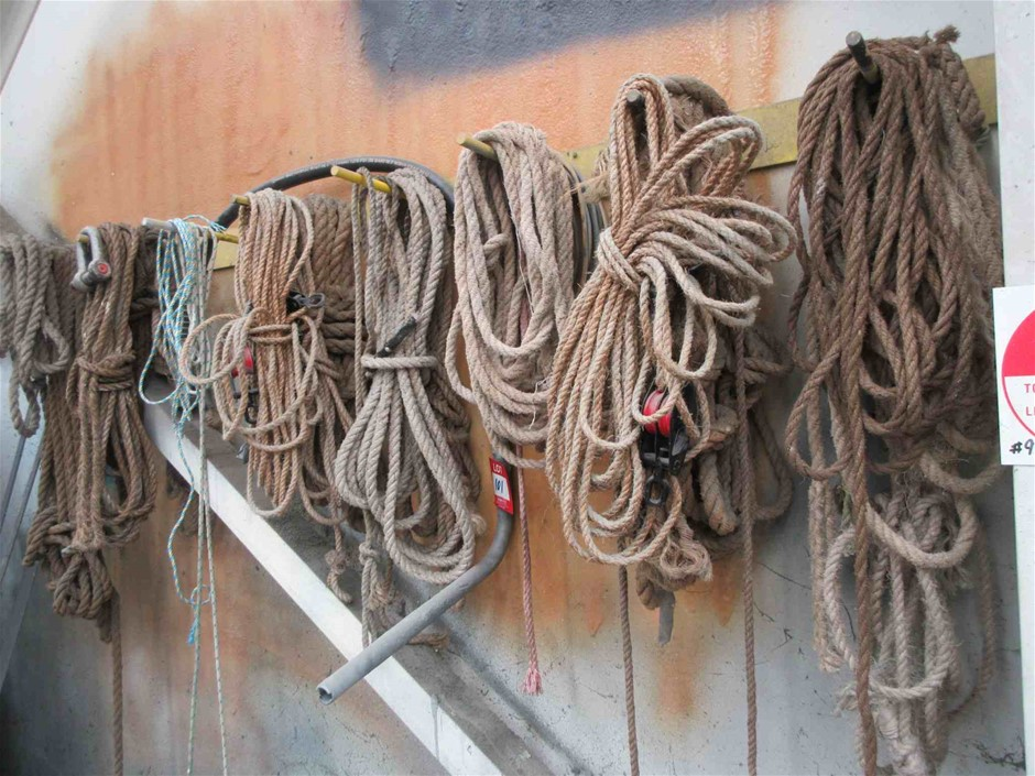 Rope Block and Tackles and Ropes on Wall
