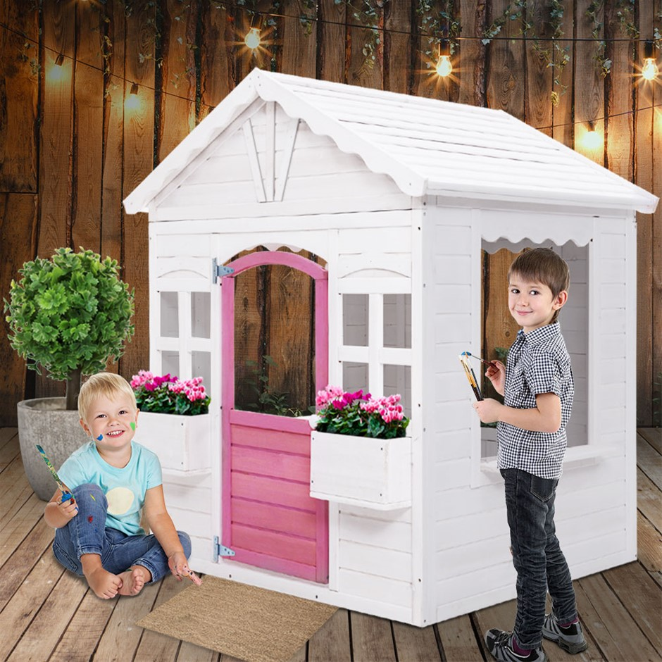 Keezi Kids Cubby House Wooden Outdoor Children's Gift Pretend Play Set