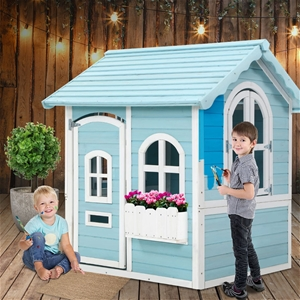 Keezi Kids Wooden Cubby House Outdoor Pl