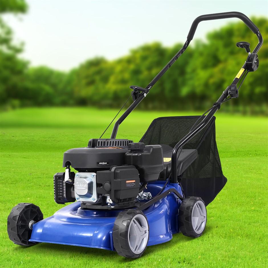 "Lawn Mower 17"" Petrol Powered Hand Push Engine Lawnmower Catch 4Stroke"