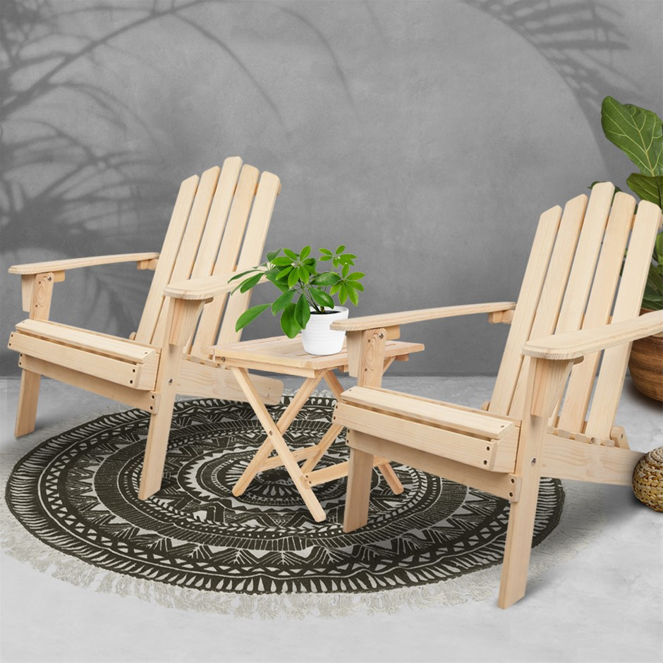 Gardeon Outdoor Chairs Table Set Lounge Furniture Beach Chair Adirondack