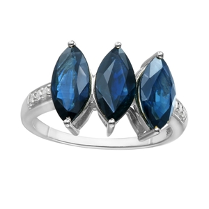 9ct White Gold, Blue Sapphire and Diamon