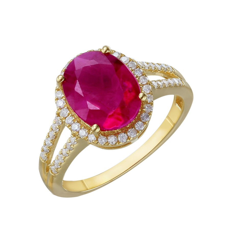 9ct Yellow Gold, 3.69ct Ruby and Diamond Ring