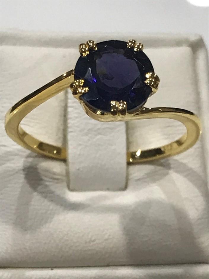 Brilliant 2.00ct Iolite & 18K Gold Vermeil Ring. Size N 1/2 (7)