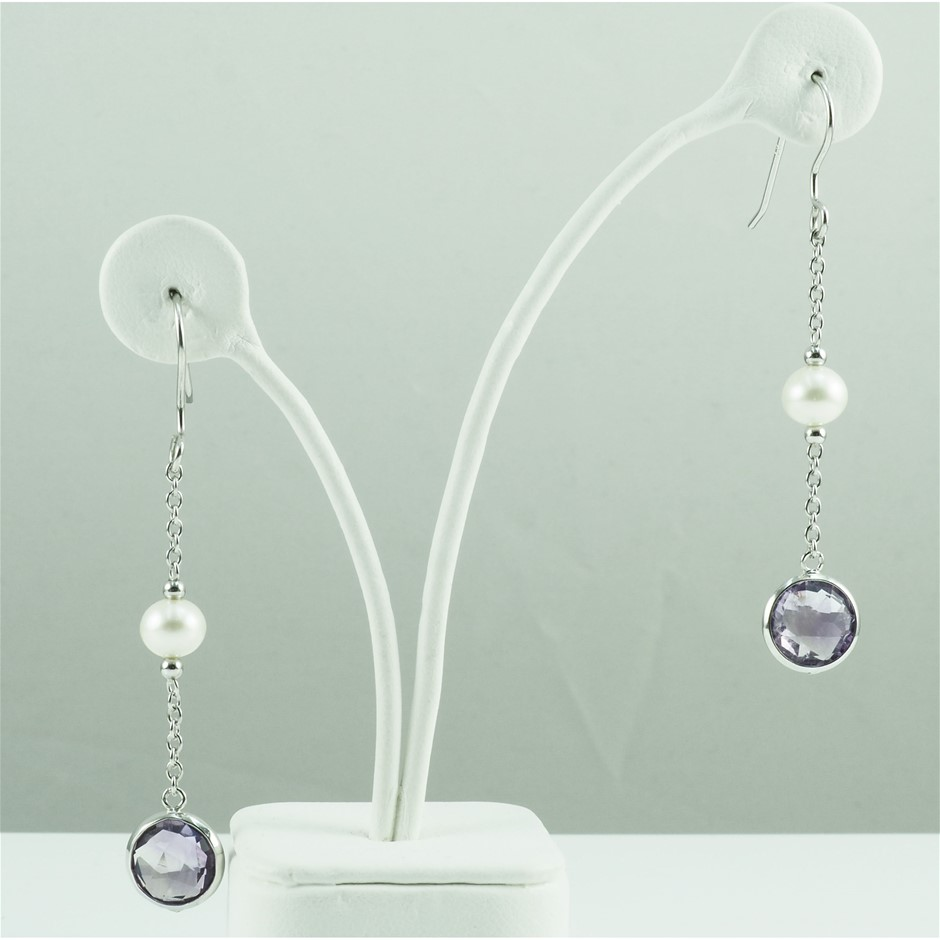 Freshwater pearl & amethyst set earrings
