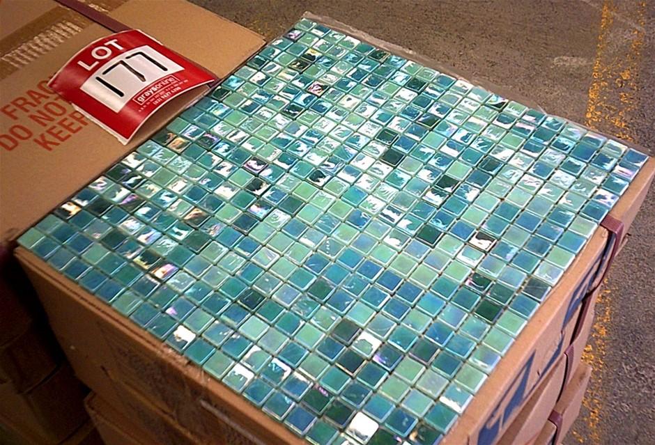 Box of Aqua/Blue Glass Mosaic tiles.