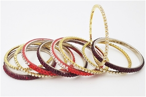 Mixed Collection of 10 Crystal Bangles.