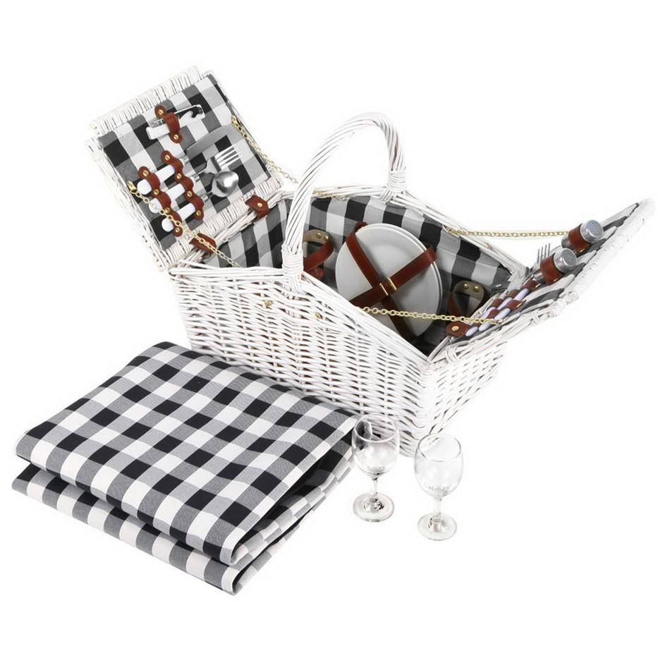 Alfresco Deluxe 2 Person Picnic Basket Outdoor Corporate Blanket Park