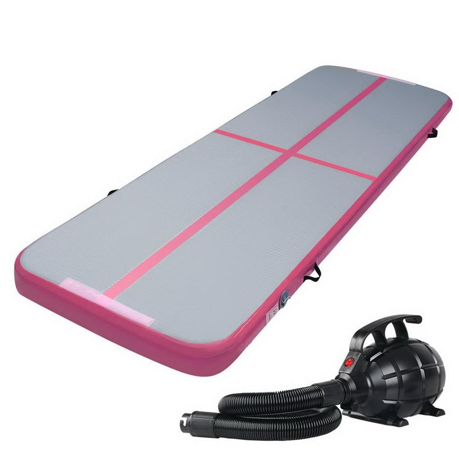 Everfit GoFun 3X1M Inflatable Air Track Mat, Pump Tumbling Gymnastics Pink
