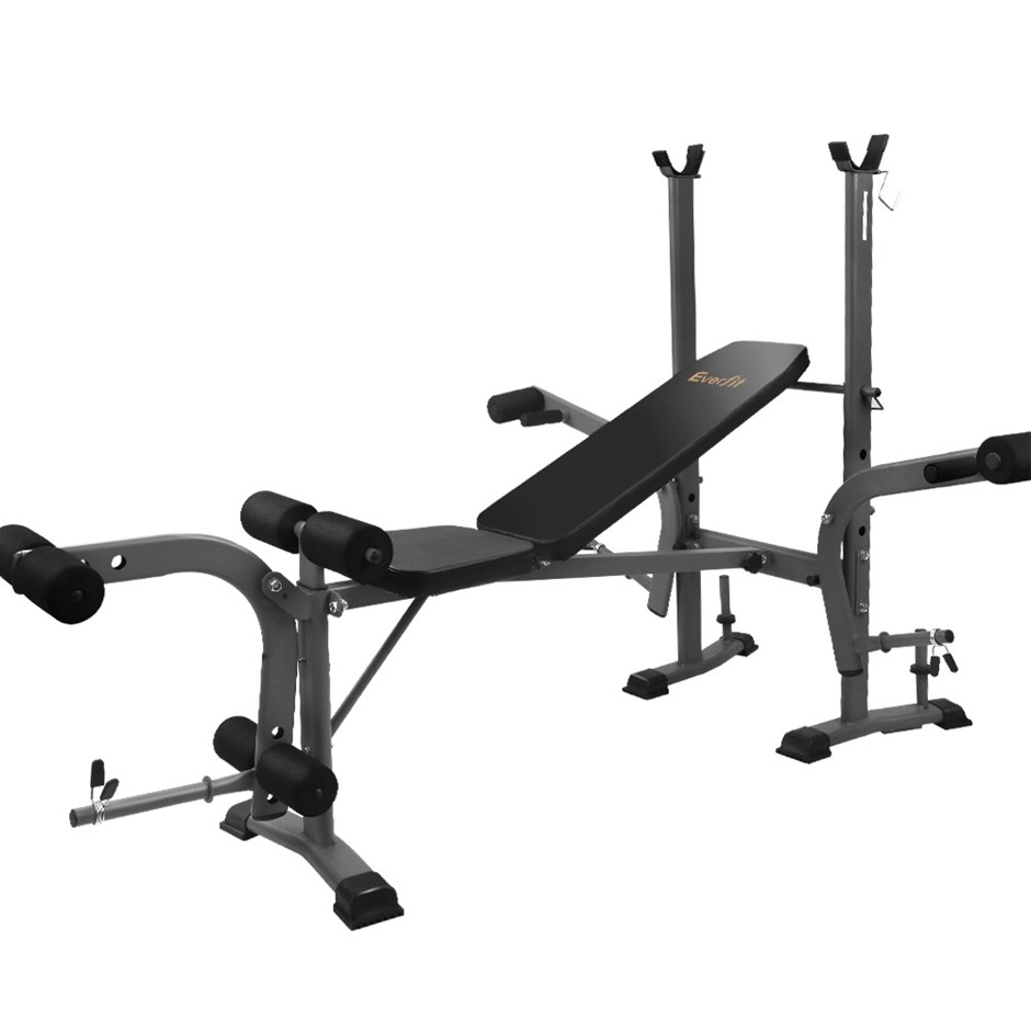Everfit Multi-Station Weight Bench Press Weights Equipment Incline Black